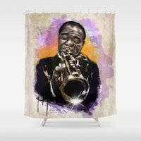 louis armstrong Shower Curtains featuring Louis Armstrong by Philipe Kling