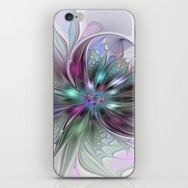 Colorful Fantasy Abstract Modern Fractal Flower iPhone Skin