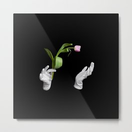 Pink fresh tulip in wizard hands Metal Print