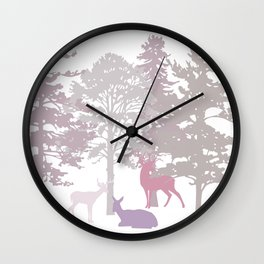 Morning Deer In The Woods No. 3 Wall Clock