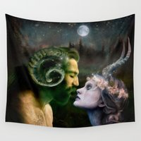 pagan Wall Tapestries featuring Horned God Lord and Lady fine art goddess wicca pagan by katbaden