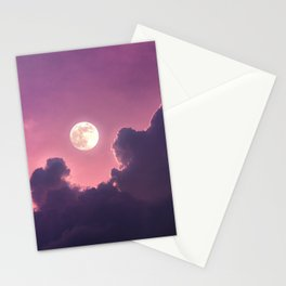 Purple Full Moon  Stationery Cards