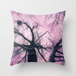 Winter Trees Purple Stylized Throw Pillow