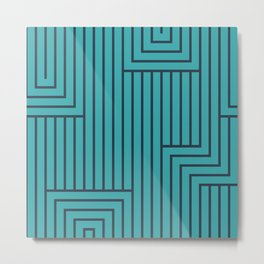 Dark Navy Blue Solid Color Art Deco Pattern 2 on Aqua Teal Turquoise - Aquarium SW 6767 Metal Print