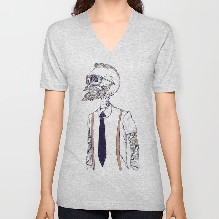 The Gentleman becomes a Hipster  Unisex V-Neck