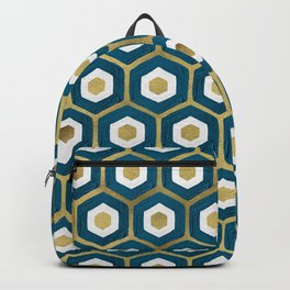 Hexagon Honeycomb Pattern – Teal & Gold Backpack