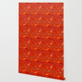 Koi carp. Brown orange yellow black outline on red background Wallpaper