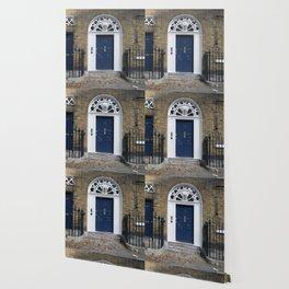 Navy Door Wallpaper