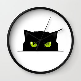 Black cat follow you #society6 #decor #buyart #artprint Wall Clock