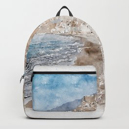 Aquarelle sketch art. Santorini Vlichada beach, blue sky and sea Backpack