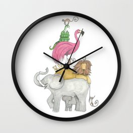 A Stack Of Animals with elephant, lion, flamingo, monkeys and snake Wall Clock