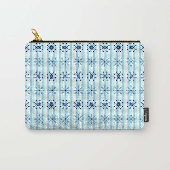 Snowflakes on a striped background Carry-All Pouch