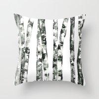 birch Throw Pillows featuring Birch    by kristinesarleyart
