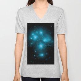 Turquoise Blue Galaxy: Pleiades Constellation Unisex V-Neck