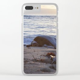 sunset snooze Clear iPhone Case