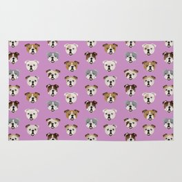 English Bulldog faces cute dog art pet portrait must have gifts for english bulldog owners Rug
