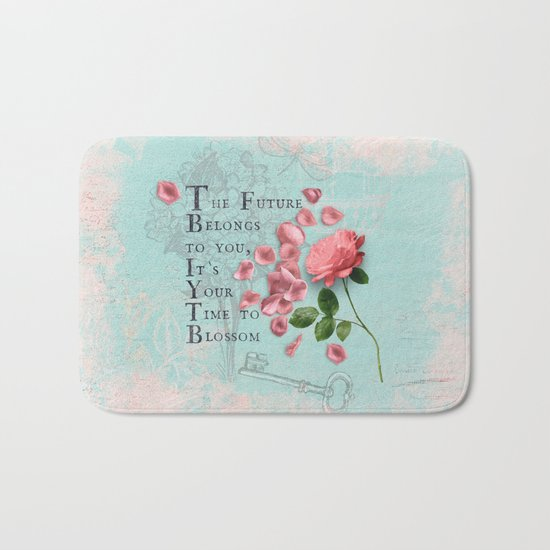Future- Quote with Rose Flower- Floral Collage and Wisdom on turquoise background Bath Mat