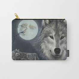 Picture of a wolf in a moonlit night Carry-All Pouch