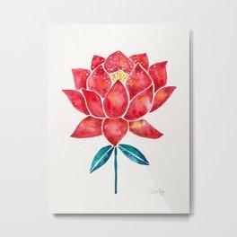 Sacred Lotus – Red Blossom Metal Print