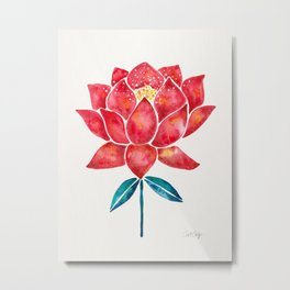 Sacred Lotus – Red Blossom Metal Print