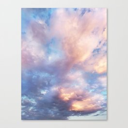 Sunset | Pink Clouds | Sky | Rainbow | Unicorn Colours | Nature Canvas Print