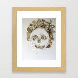 Rhinestone Skull Mixed Media Print Framed Art Print