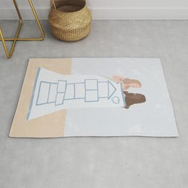 Hopscotch Girls Ready For School // Playground Drawing // Light blue and Black Rug