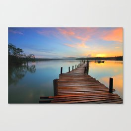 Pier on the Water at Sunset  Canvas Print