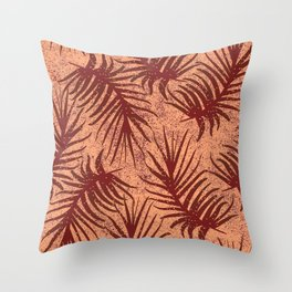 Red-brown leaves on a mottled background. Throw Pillow