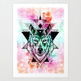 wolf mandala Art Print