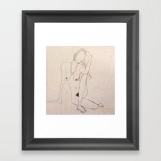 seated nude - pencil sketch Framed Art Print