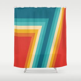 Colorful Retro Stripes  - 70s, 80s Abstract Design Shower Curtain