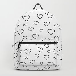 Doodle hearts black and white Backpack