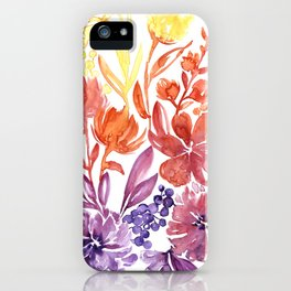 Floral abstract and colorful watercolor illustration iPhone Case