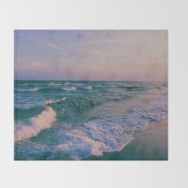 Sunset Crashing Waves Throw Blanket
