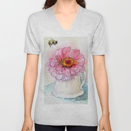 Botanical Flower Pink Zinnias in Pitcher Unisex V-Neck