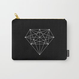 Geometric Black and White lowpoly Polygonal Diamond Shape Design Valentines Day Gift for Girlfriend Carry-All Pouch