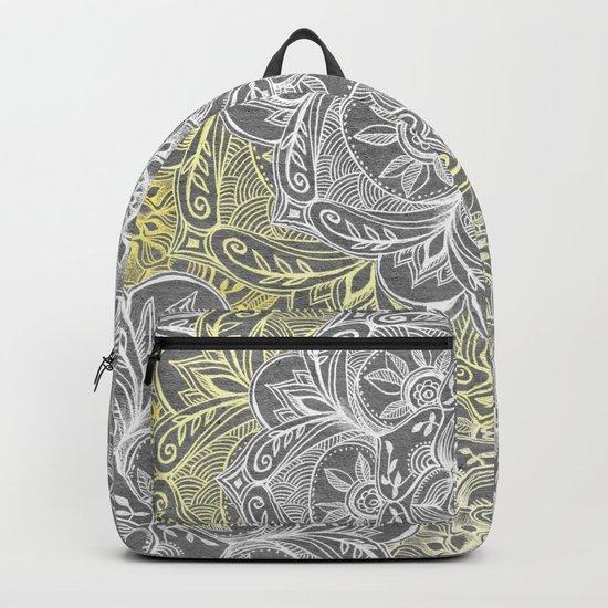 Yellow & White Mandalas on Grey Backpack
