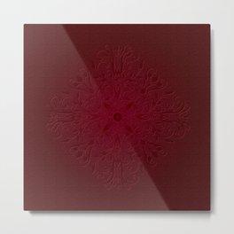 Red Leaf Mandala Metal Print