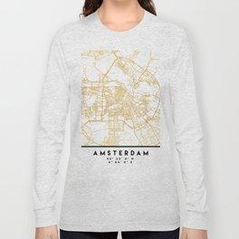 AMSTERDAM NETHERLANDS CITY STREET MAP ART Long Sleeve T-shirt
