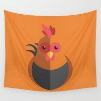 chicken Wall Tapestries featuring Chicken Pop by ARI RIZKI