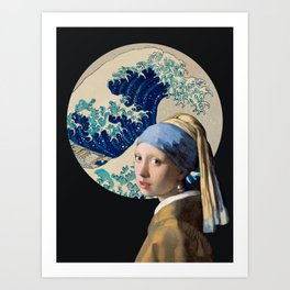 Girl with a Great Wave Hokusai / Vermeer Art Print