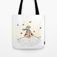 the little prince Tote Bags featuring Little Prince by nelasnow