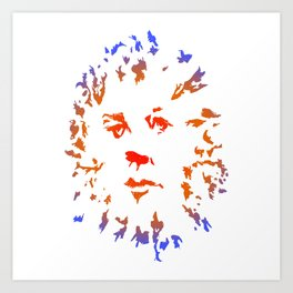 Red Flower Face Art Print