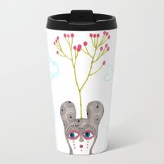 lonely cute creature with rose bush Travel Mug