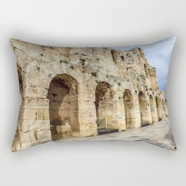 wall of ancient theater of Herodes Atticus Odeon, Athens, Greece Rectangular Pillow