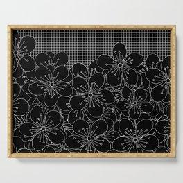 Cherry Blossom Grid Black Serving Tray