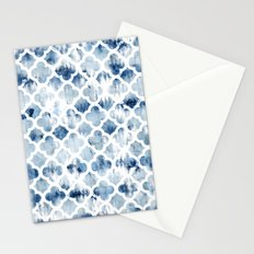 Modern navy blue tie dye hand painted watercolor geometric quatrefoil pattern Stationery Cards