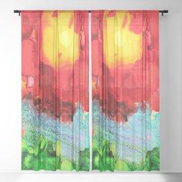Fiery Sunset Sheer Curtain