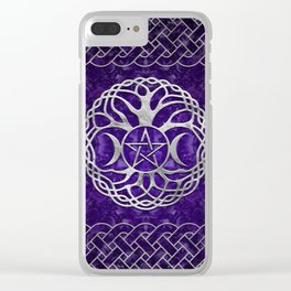 Triple Goddess with pentagram and tree of life Clear iPhone Case